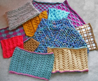 Samples of cowls and swatches.